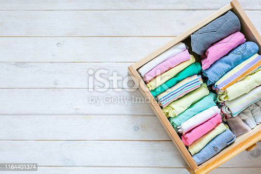1164401360 istock photo Marie Kondo tyding up method concept - folded clothes 1164401374