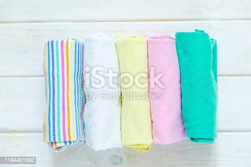 1164401360 istock photo Marie Kondo tyding up method concept - folded clothes 1164401397