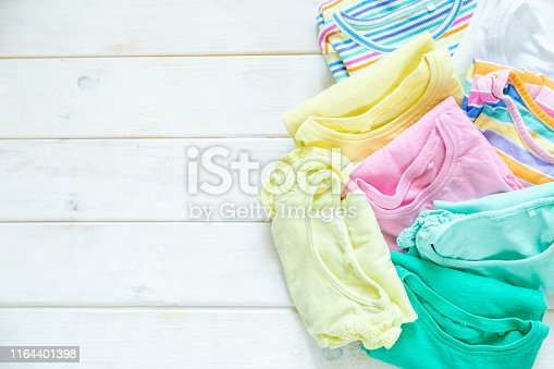 1164401360 istock photo Marie Kondo tyding up method concept - folded clothes 1164401398