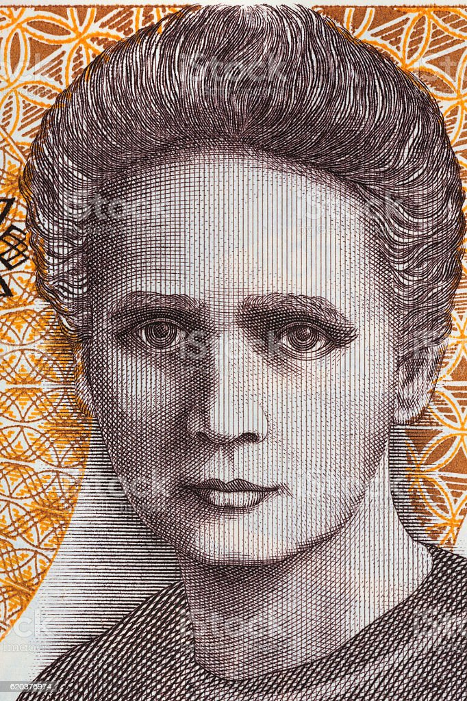 Marie Sklodowska Curie portrait from old twenty thousand zloty zbiór zdjęć royalty-free