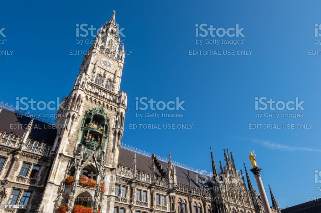 Marienplatz clock town in downtown, famous attraction for tourists around the world. stock photo