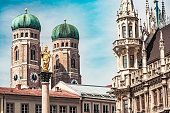 Marienplatz in Munich with its famous Münchner Kindl, Frauenkirche and New Town Hall
