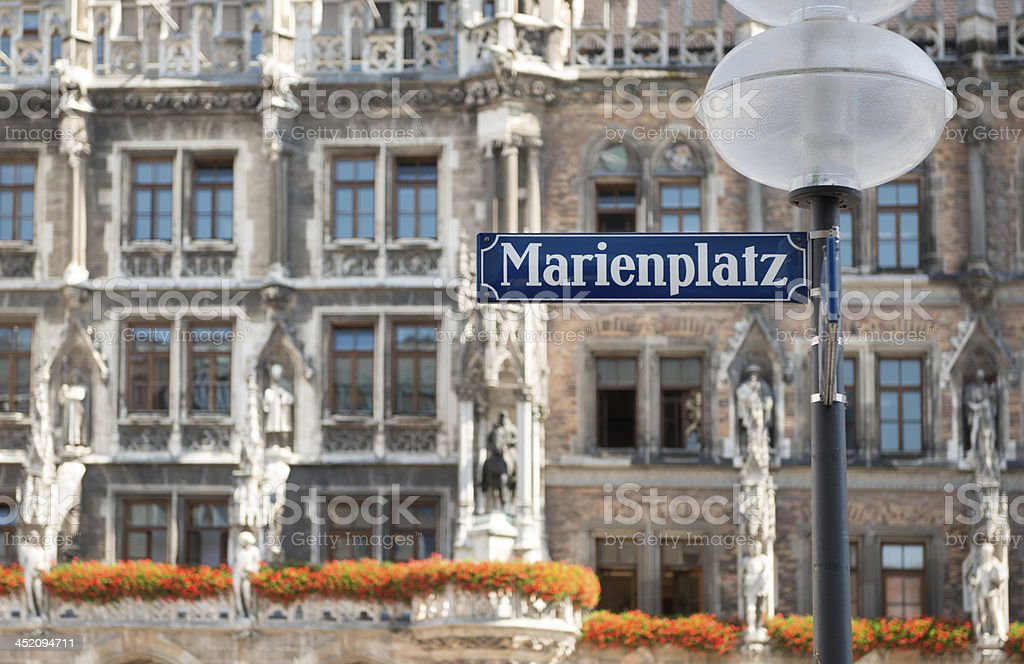 Marienplatz Sign in Central Munich stock photo