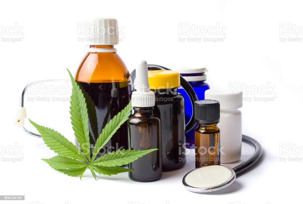 Marijuana and cannabis oil bottles isolated royalty-free stock photo