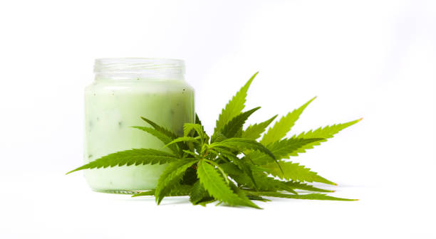 Marijuana and cannabis paste jar  isolated