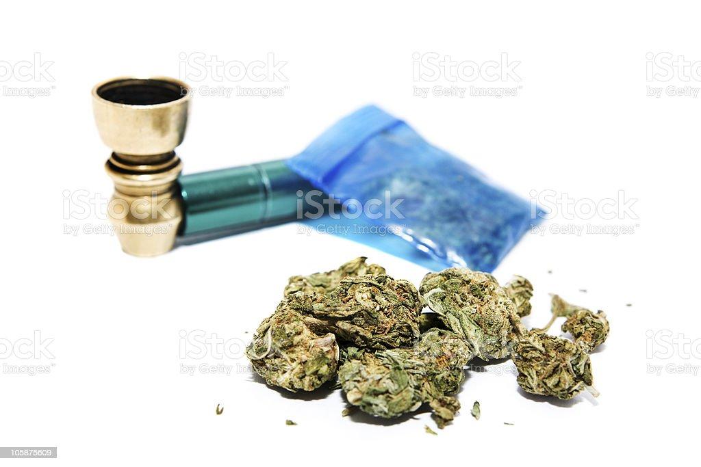Marijuana and Pipe royalty-free stock photo