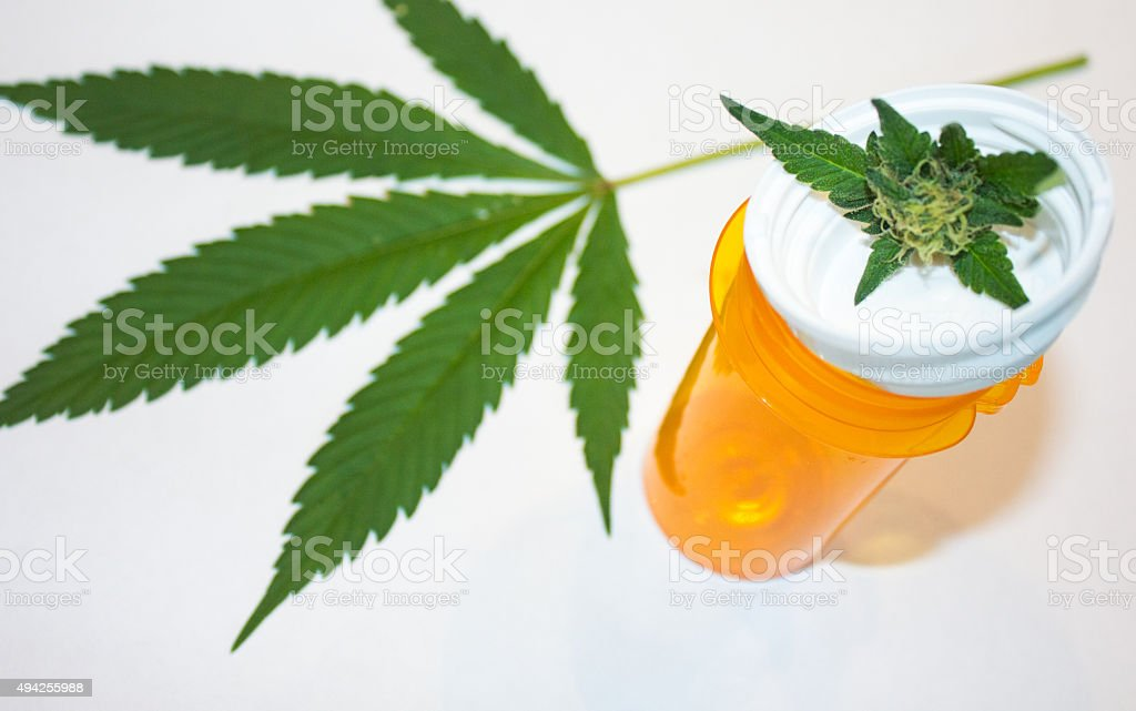 Marijuana and Prescription Bottle stock photo