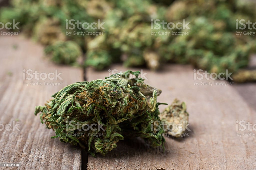Marijuana bud close up stock photo