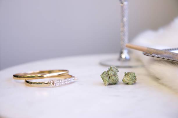 Marijuana Buds and Joint on Marble Vanity Luxury Cannabis stock photo