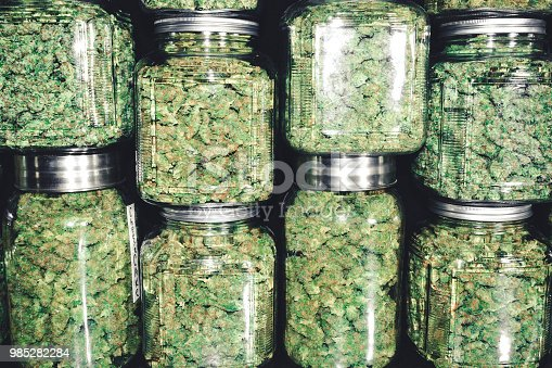 istock Marijuana Buds in Glass Jar Stack 985282284