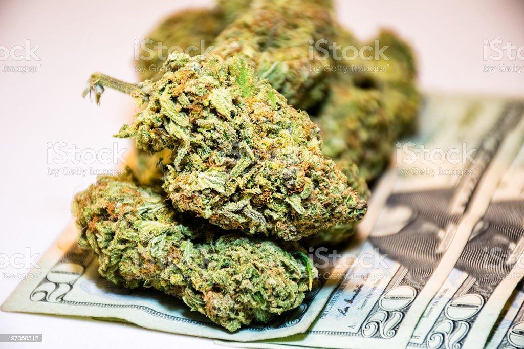 Marijuana Buds Legalized Cannabis on 20 Dollar Bills royalty-free stock photo