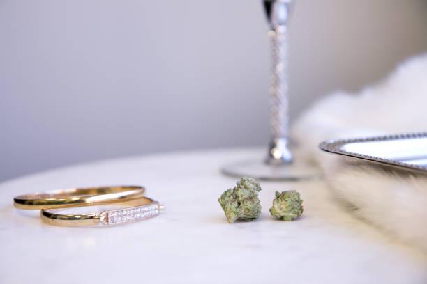 Marijuana Buds on Marble Vanity Luxury Cannabis stock photo