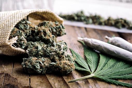 Marijuana Buds With Marijuana Joints Stock Photo - Download Image Now