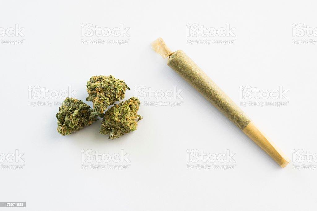 marijuana cigarette with marijuana buds on white background stock photo