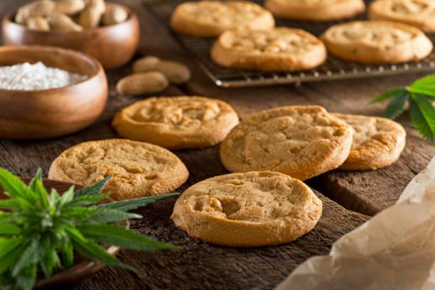 Marijuana Cookies Delicious homemade peanut butter marijuana cookies. thc stock pictures, royalty-free photos & images