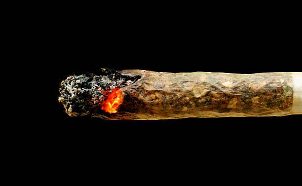 Marijuana joint Smoldering marijuana joint isolated on black background marijuana joint stock pictures, royalty-free photos & images