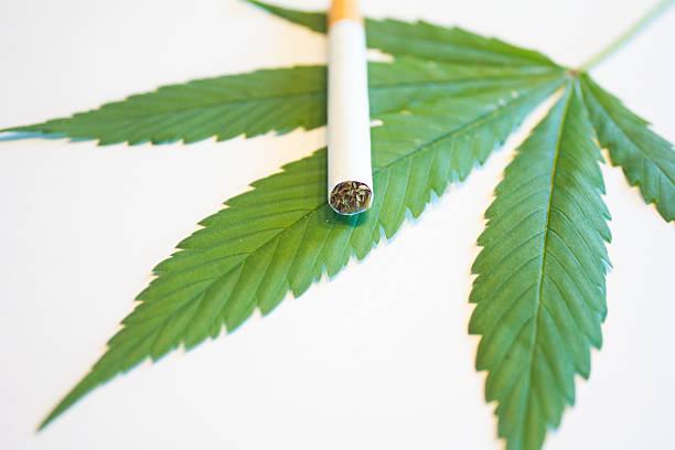 Marijuana Leaf and Cigarette stock photo