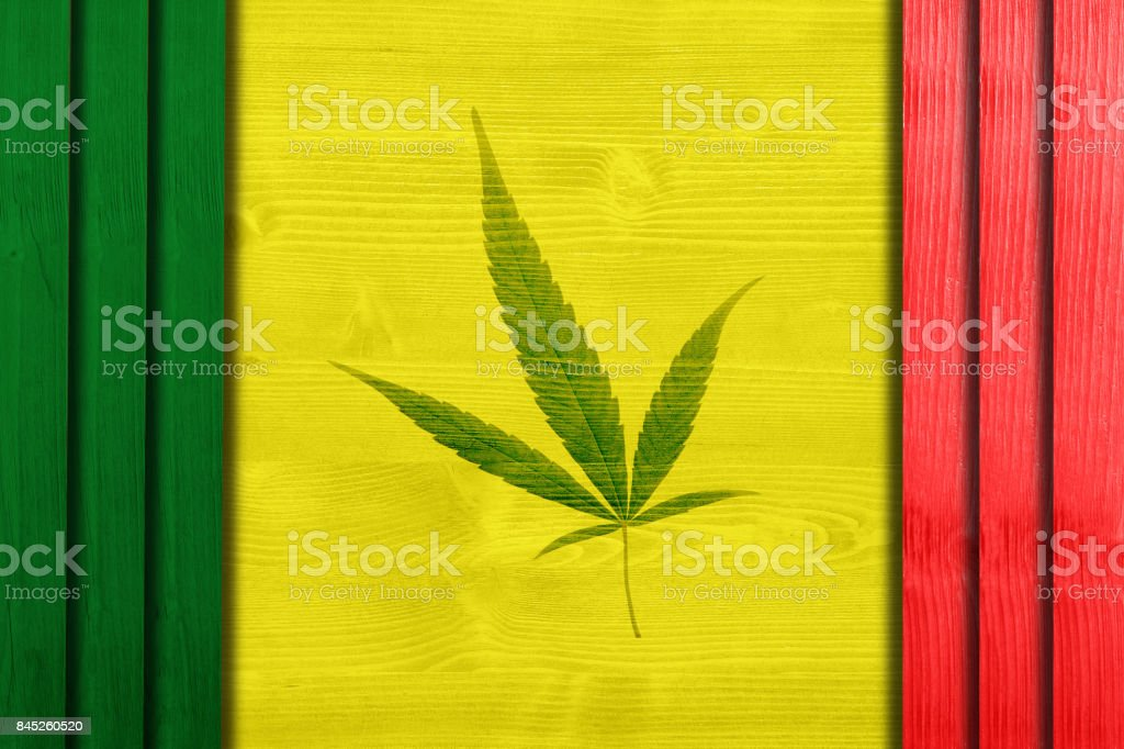 Marijuana leaf symbol on wooden frame. stock photo