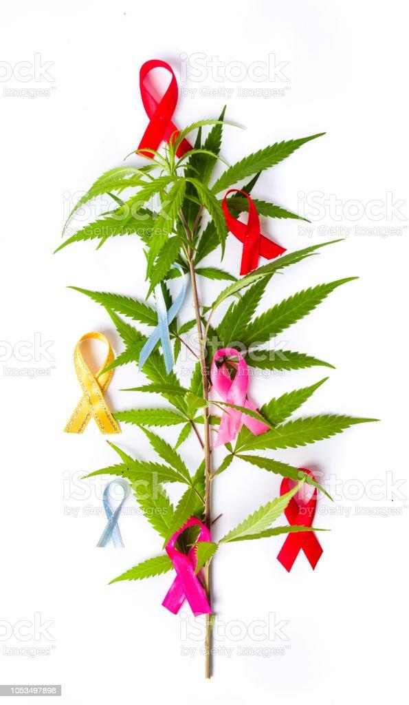Marijuana leafs with Cancer awareness symbols stock photo