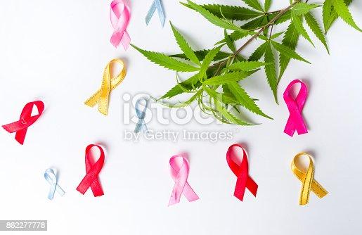 istock Marijuana leafs with Cancer awareness symbols 862277778