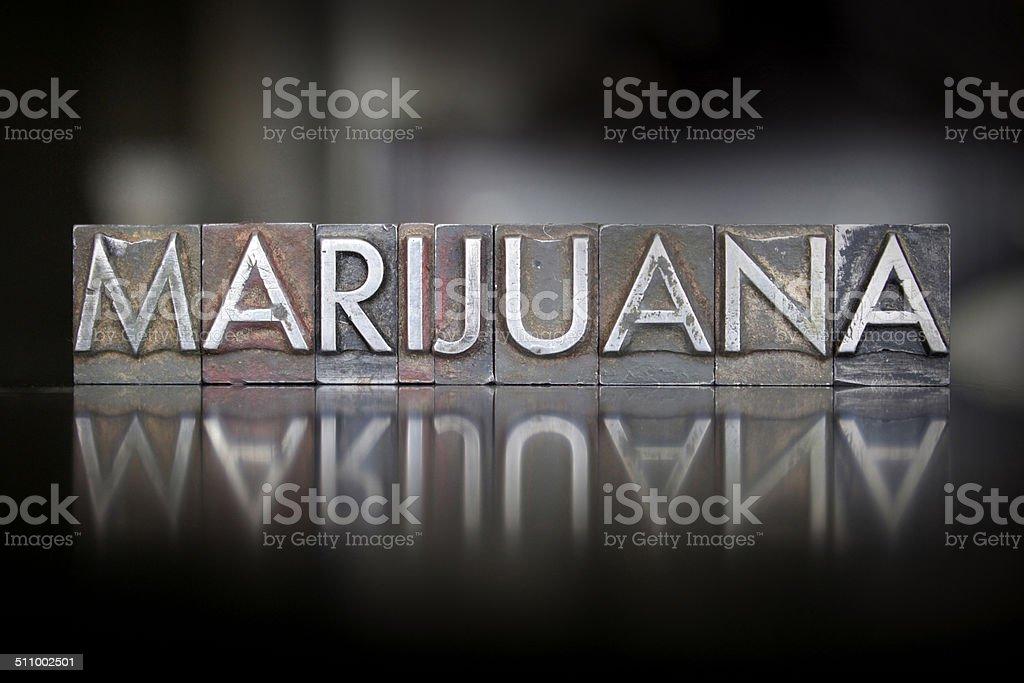 Marijuana Letterpress stock photo