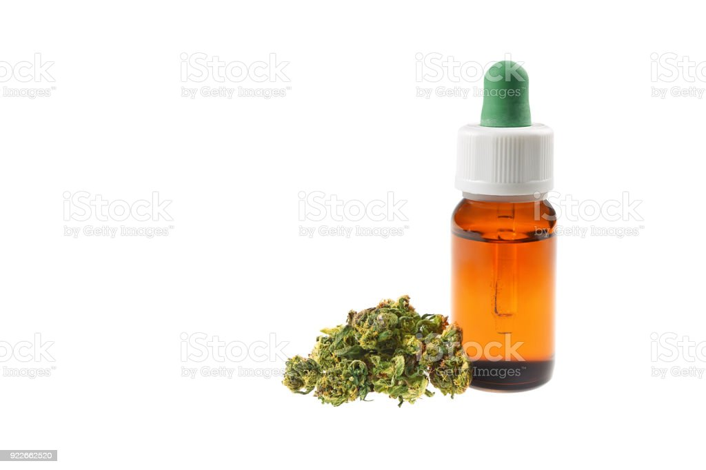 Marijuana oil cbd bottle stock photo