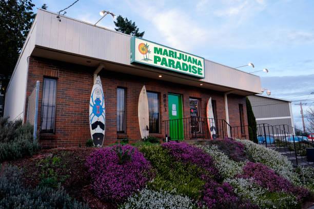 Marijuana Paradise Pot Dispensary in Portland Oregon stock photo