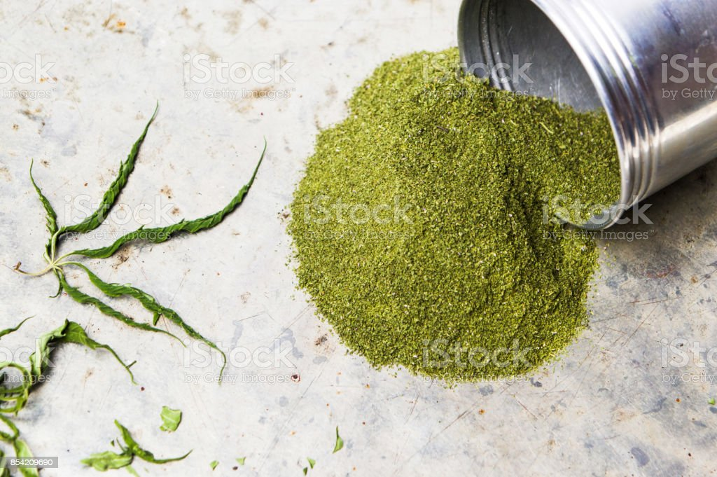 Marijuana powder on a pile stock photo