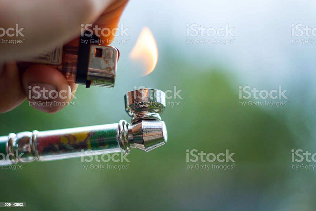 marijuana smoking pipe stock photo
