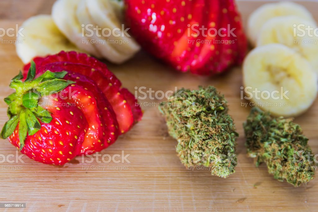 Marijuana, Strawberries, & Bananas - Royalty-free Bamboo - Material Stock Photo