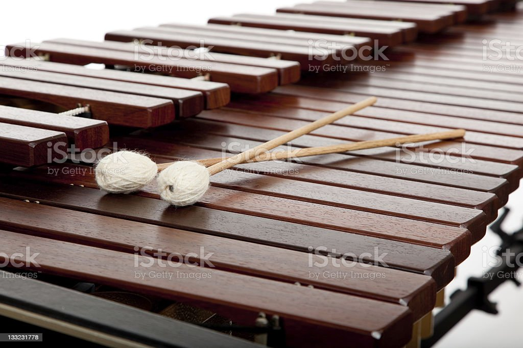 Marimba and mallets on a white background stock photo