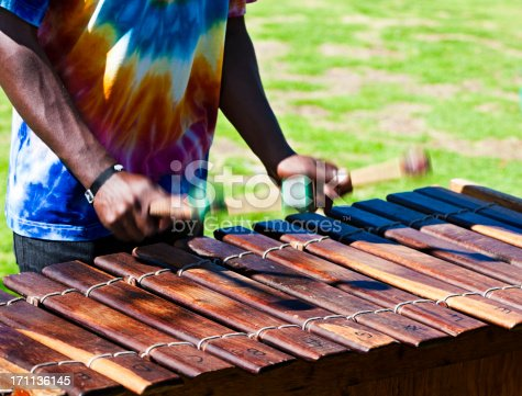 Hands of a marimba player at an outdoor gig. Hands and beaters are motion-blurred. Camera: Canon EOS 1Ds Mark III.