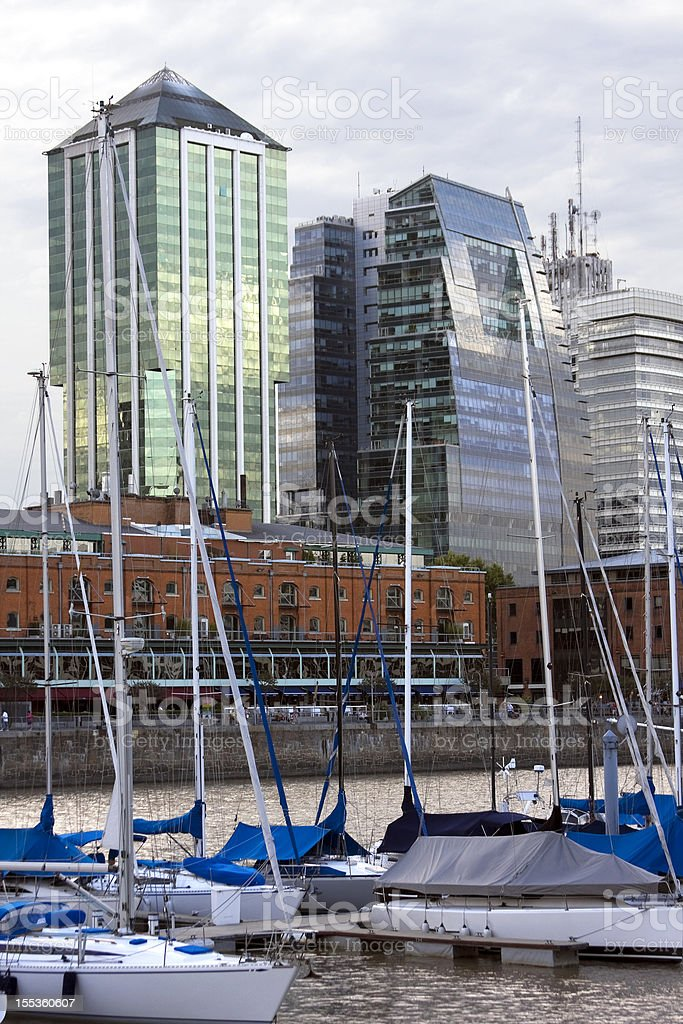 Marina and Buildings in Puerto Madero royalty-free stock photo