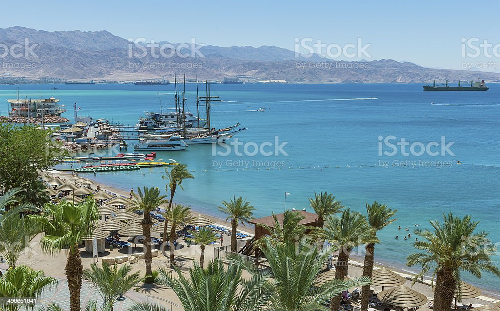 Marina and central beach in Eilat stock photo