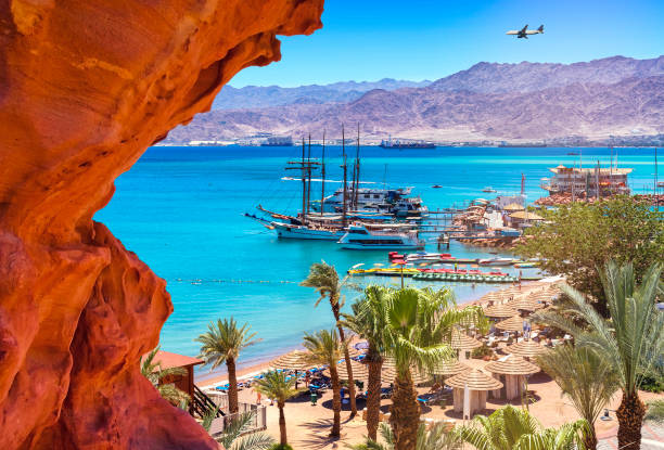 marina and central public beach of eilat - akaba stock-fotos und bilder