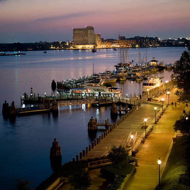Marina and Harbor at Norfolk, Virginia Dusk stock photo