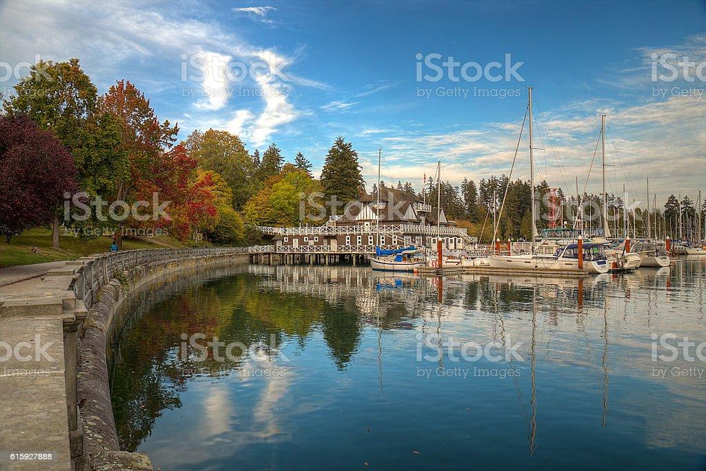 Marina and trees in autumn stock photo