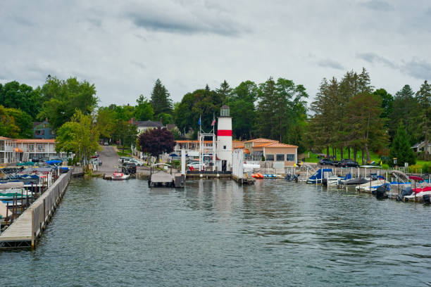 Marina at Cooperstown stock photo