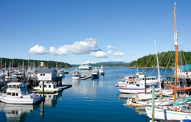 Marina at Friday Harbor on San Juan Island stock photo