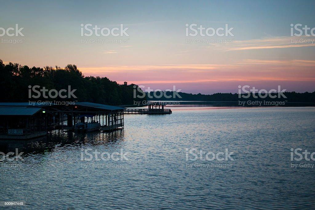 Marina at Lake Fayetteville at Dawn stock photo