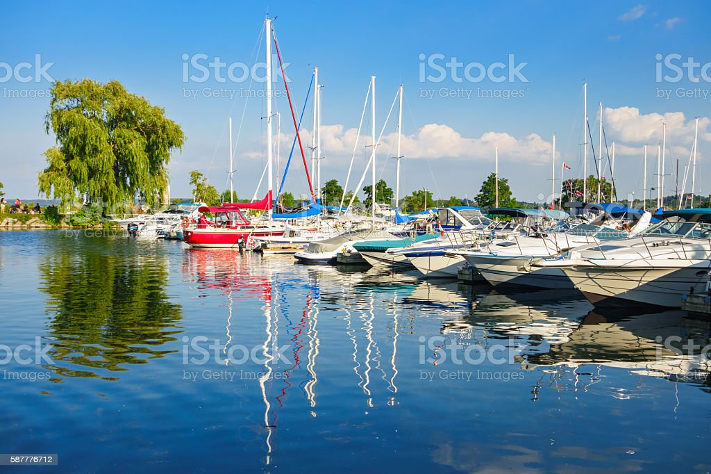 Marina at Lake Simcoe in Downtown Barrie Ontario Canada stock photo