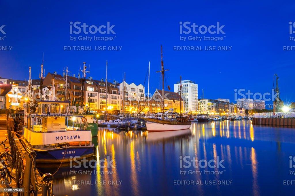 Marina at Motlawa river in Gdansk at night stock photo