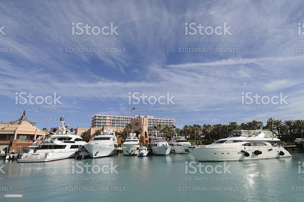 Marina at Paradise Island, Bahamas stock photo