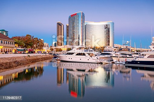 Marina at at Seaport Village and the Marriott Hotel in downtown San Diego California USA at twilight.