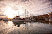 Beautiful backlit marina at sunrise