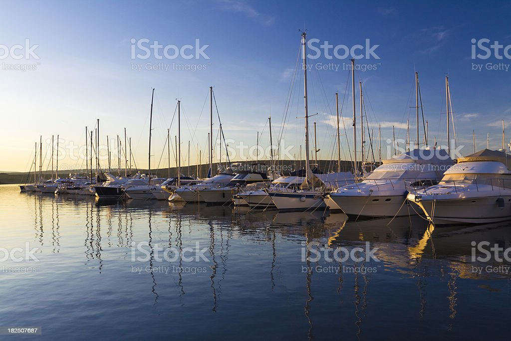 marina at sunset stock photo