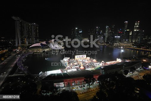 Singapore, Singapore - February 18, 2015: preparations for chinese new year celebration at The Float @ Marina Bay at night