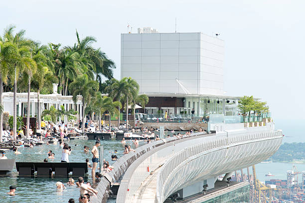 marina bay sands hotel infinity pool - marina bay sands stock photos and pictures