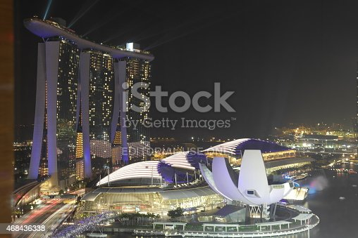 Singapore, Singapore - February 16,2015: Lasershow at the Marina Bay Sand Hotel in SIngapore at night