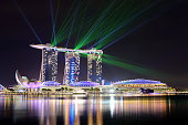 Singapore City, Singapore - March 14, 2015: Marina Bay Sands Hotel and Art Science Museum in Singapore at night.